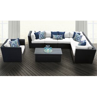 TK Classics Barbados 8 Piece Rattan Sectional Set with Cushions