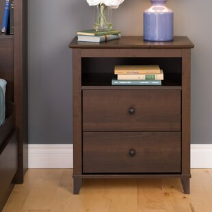 Woosley Tall Espresso 2 Drawer Nightstand by Breakwater Bay
