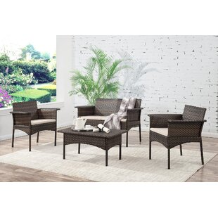 Bayou Breeze Albia 4 Piece Sofa Set with Cushions