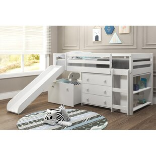 Renley Complete Twin Low Loft Bed with Drawer and Bookcase by