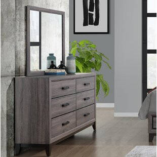 Jerold 6 Drawer Double Dresser with Mirror