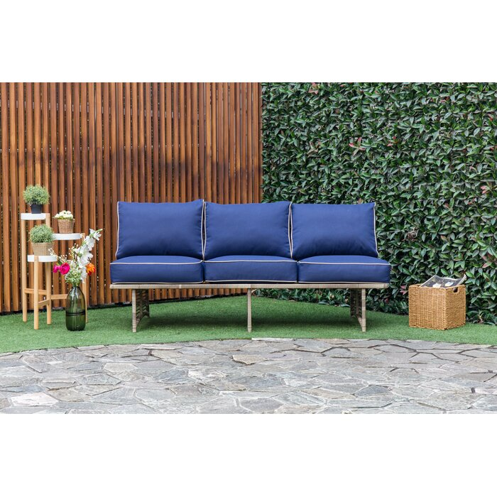 Dakota Outdoor Rattan Patio Sofa With Cushions
