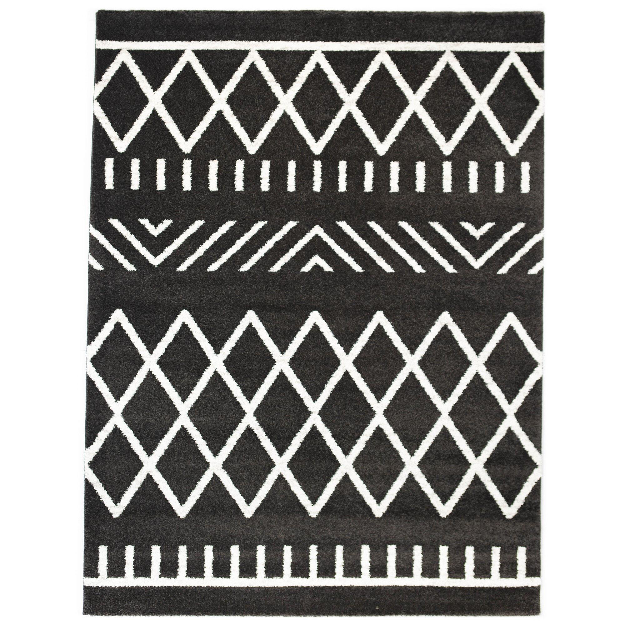Union Rustic Hawthorne Geometric Black Area Rug Reviews Wayfair Ca