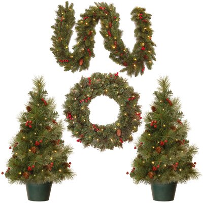 4 Piece Green Pine Artificial Christmas Tree, Wreath and Garland Set