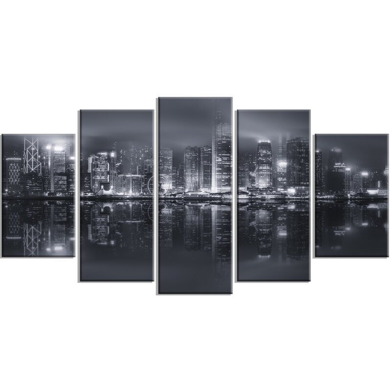 Hong Kong Black And White Skyline 5 Piece Wall Art On Wred Canvas Set