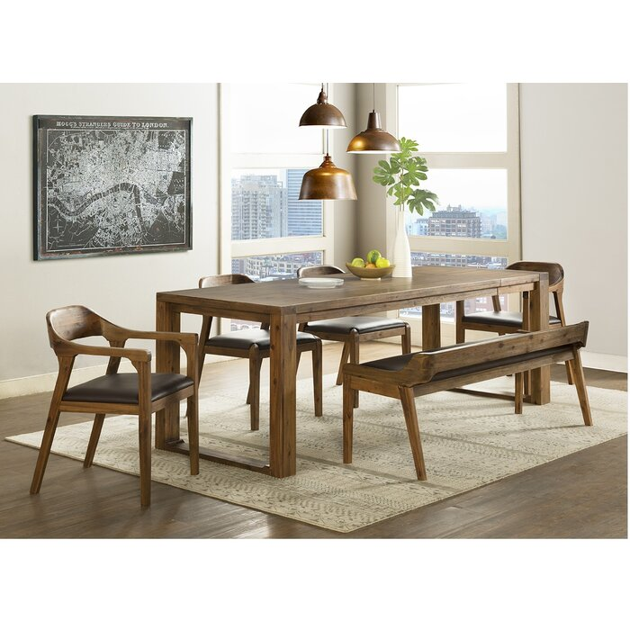Sensational Bourgoin 6 Piece Drop Leaf Solid Wood Dining Set With Bench 4 Arm Chairs Ibusinesslaw Wood Chair Design Ideas Ibusinesslaworg