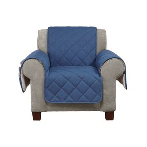 Denim Sherpa Box Cushion Armchair Slipcover