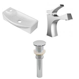 Ceramic U-Shaped Bathroom Sink with Faucet ByAmerican Imaginations