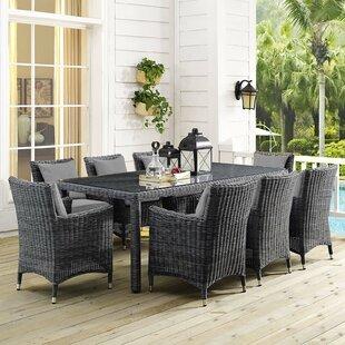 Alaia 9 Piece Rattan Sunbrella Dining Set with Cushions