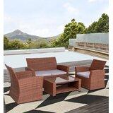 Akshayaa 4 Piece Rattan Sofa Seating Group with Cushions by Red Barrel Studio®