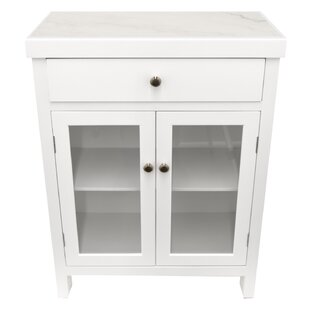 Gilbert Wood 1 Drawer Accent Cabinet with Marble Top by Rosecliff Heights