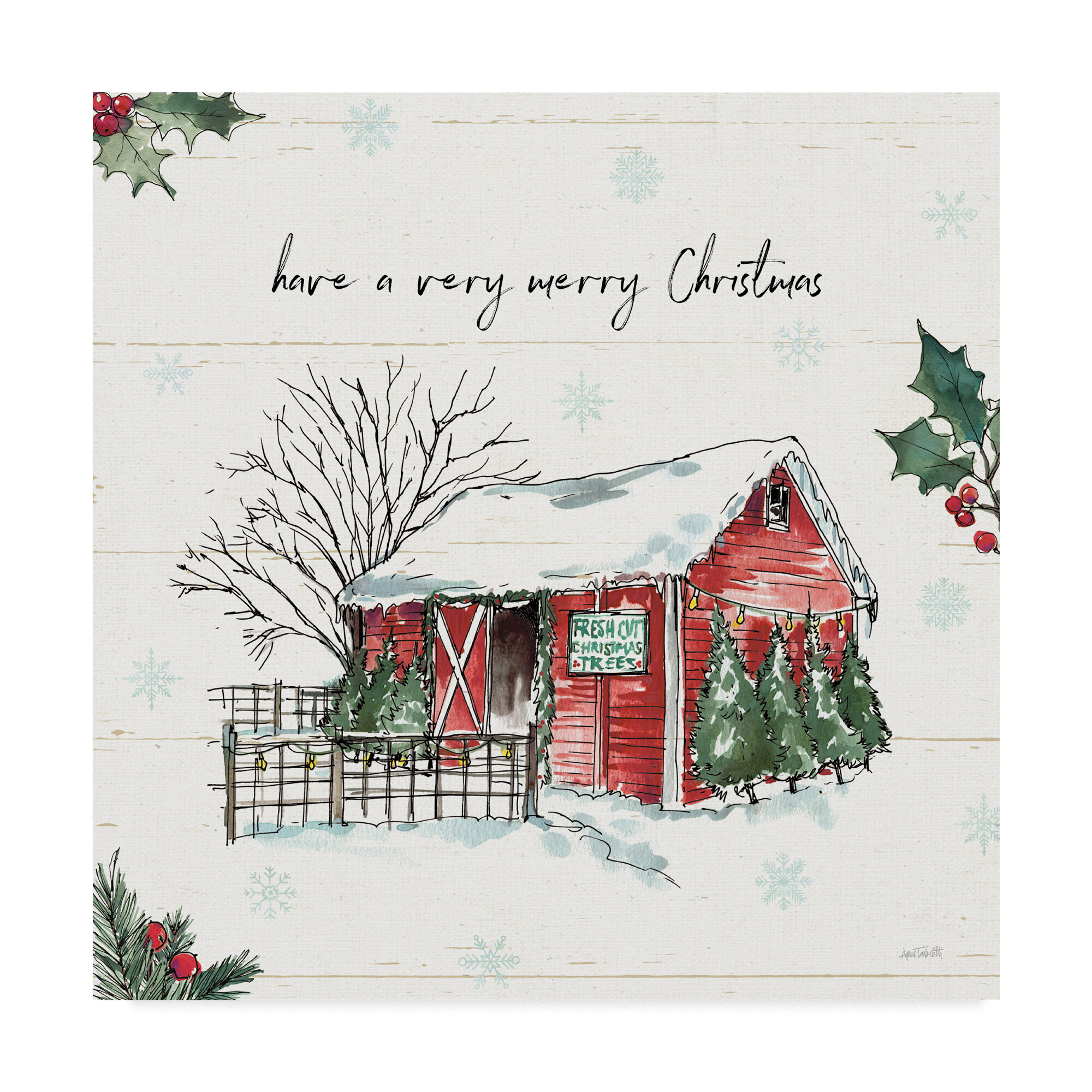 East Urban Home Holiday On The Farm Iv Merry Christmas Watercolor Painting Print On Wrapped Canvas Wayfair