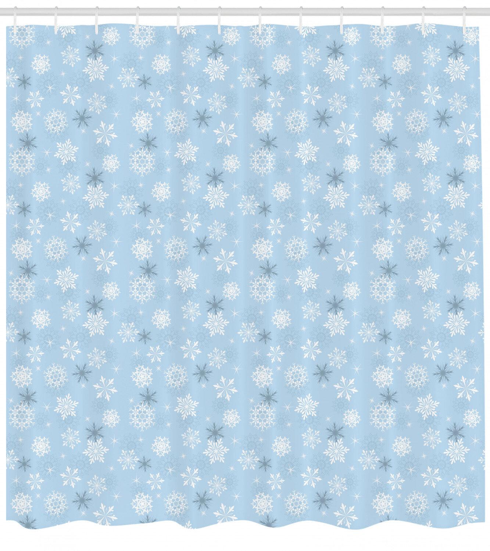 Snowflake Shower Curtain Set Hooks