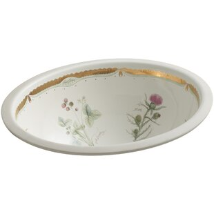 Prairie Flowers Ceramic Oval Undermount Bathroom Sink Kohler