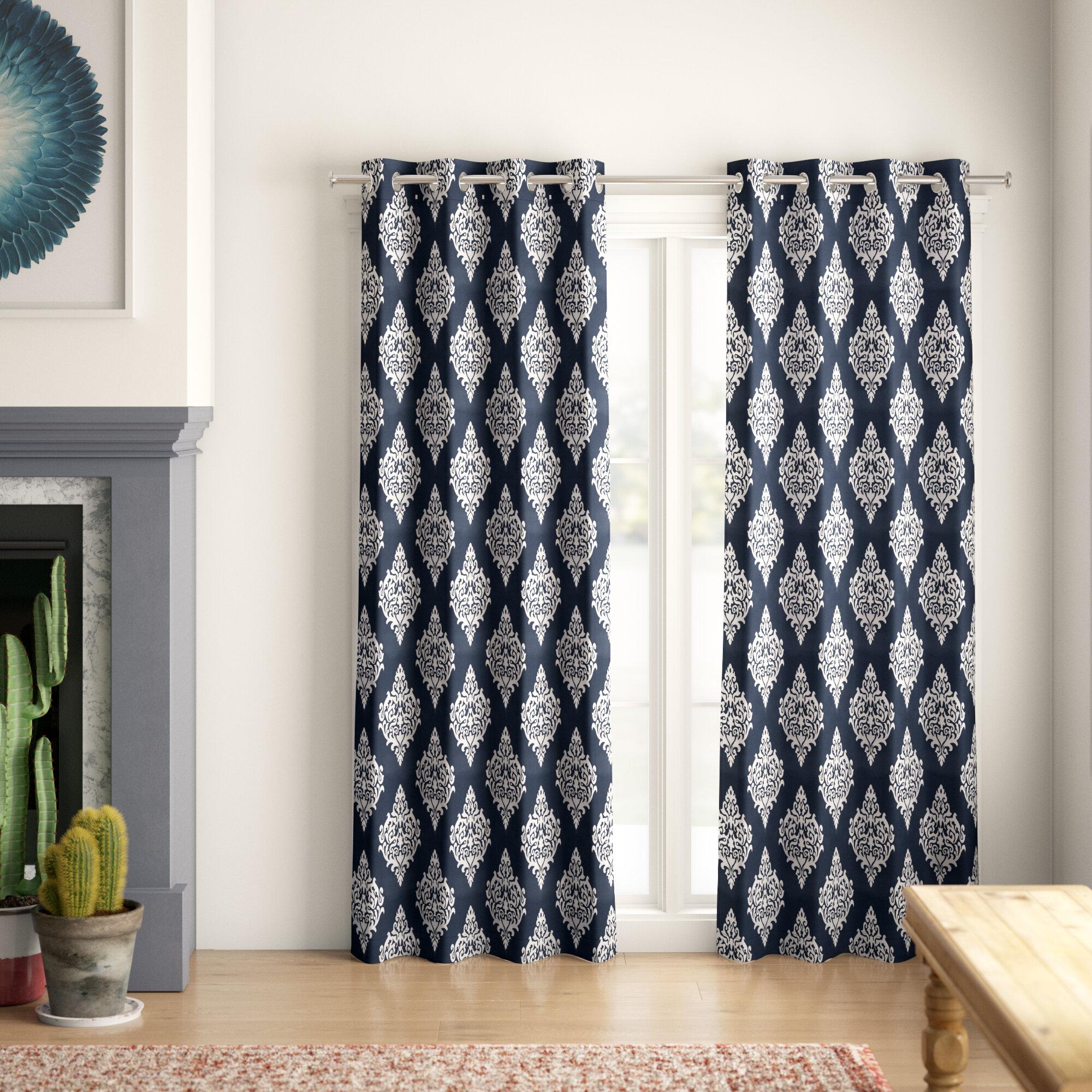 Mistana Kassie Damask Room Darkening Thermal Grommet Curtain Panels Reviews Wayfair