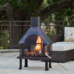 Delightful Fuoco Steel Wood Burning Outdoor Fireplace