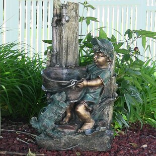 Red Barrel Studio Jeniffer Resin/Fiberglass Boy and Dog Fetching Water Outdoor Fountain with LED Light