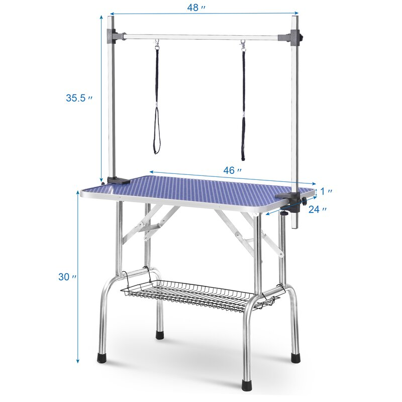 46/'/' Blue Adjustable Heavy Duty Dog Cat Pet Grooming Table W//Arm Noose Mesh Tray