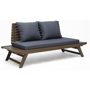 Celestine Outdoor Wooden Loveseat with Cushions by Longshore Tides