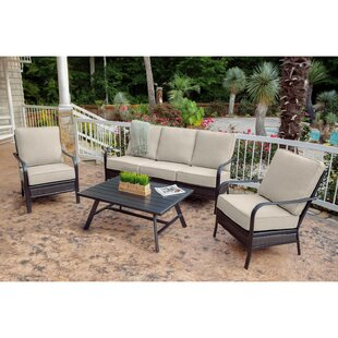 Gaydos 4 Piece Rattan Sofa Seating Group with Sunbrella Cushions by Charlton Home