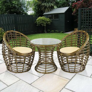 Blaney 3 Piece Rattan 2 Person Seating Group