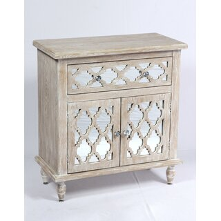 Amanda Whitewash and Mirror 2 Doors Accent Cabinet by Ophelia & Co. SKU:CB822389 Buy