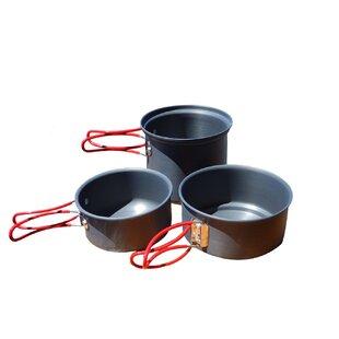 Alpine Mountain Gear Backpacker Hard Anodized 3 Piece Non-Stick Cookware Set