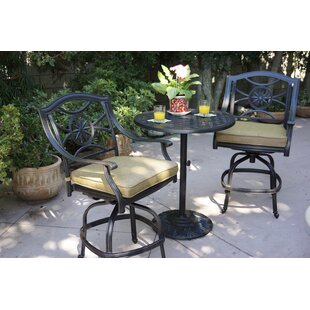 Alcott Hill Thompsontown 3 Piece Bar Height Dining Set with Cushions