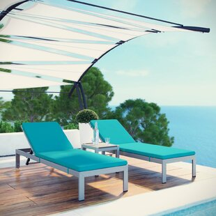 Coline Outdoor Patio Aluminum Sun Lounger Set with Cushions and Table by Orren Ellis