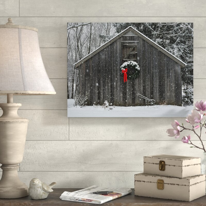 Christmas Barn in the Snow Framed Photo Graphic Print on Canvas