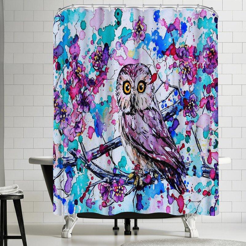 East Urban Home Eve Izzett Little Owls I Single Shower Curtain Wayfair