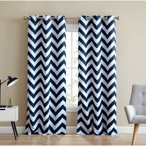 Alvarenga Chevron Print Insulated Blackout Thermal Grommet Curtain Panels