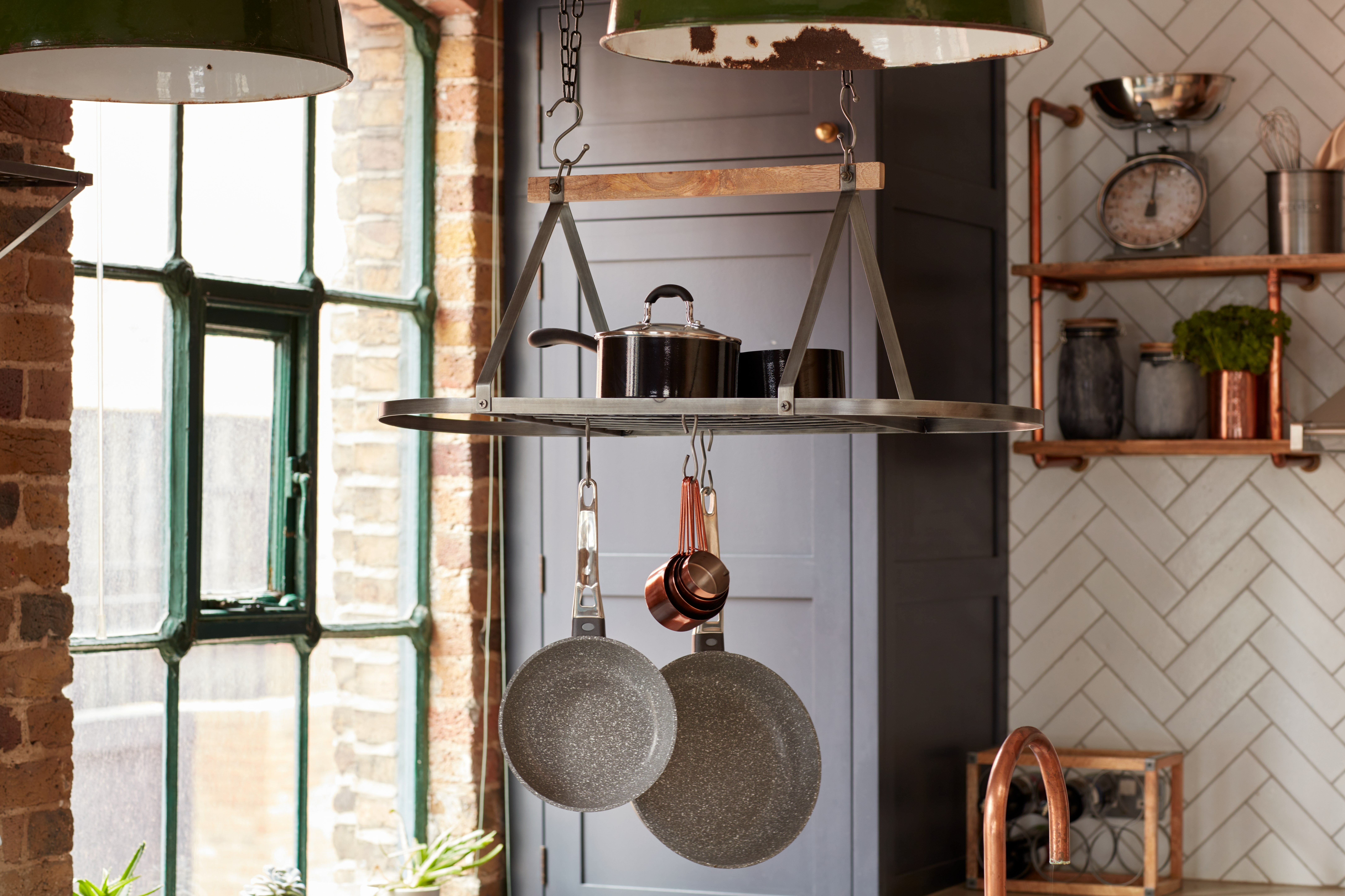 Picture of: Kitchencraft Industrial Kitchen Hanging Pot Rack Reviews