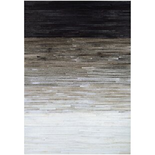 Best Choices Ashlie Flat woven Cowhide Black/Gray Area Rug ByUnion Rustic