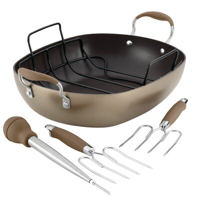 16 Advanced Hard-Anodized Nonstick Oval Roaster Set Anolon