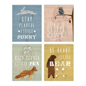 4 Piece Inspirational Animals Paper Print Set