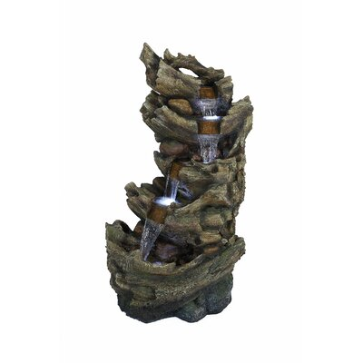 Fiberglass and Resin 5-Tier Waterfall Trunk Fountain Alpine