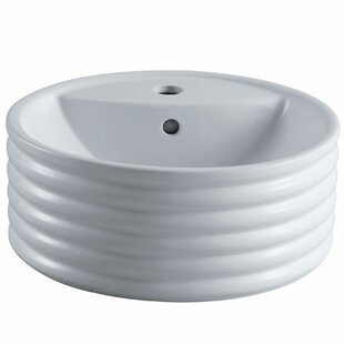 Elements of Design Tower Ceramic Circular Vessel Bathroom Sink with Overflow