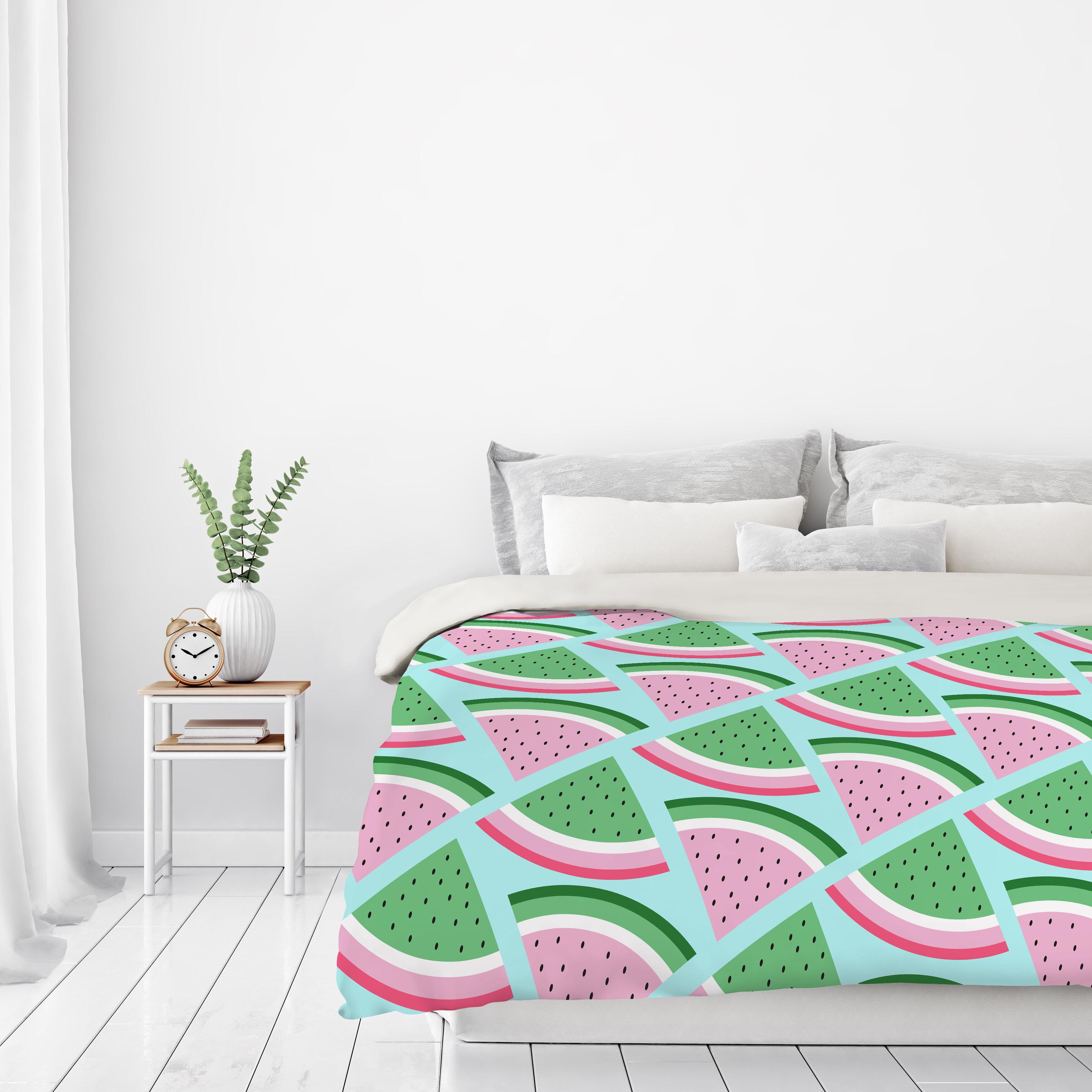 Watermelon Fruit Print Reversible Duvet Set Size King Double ...