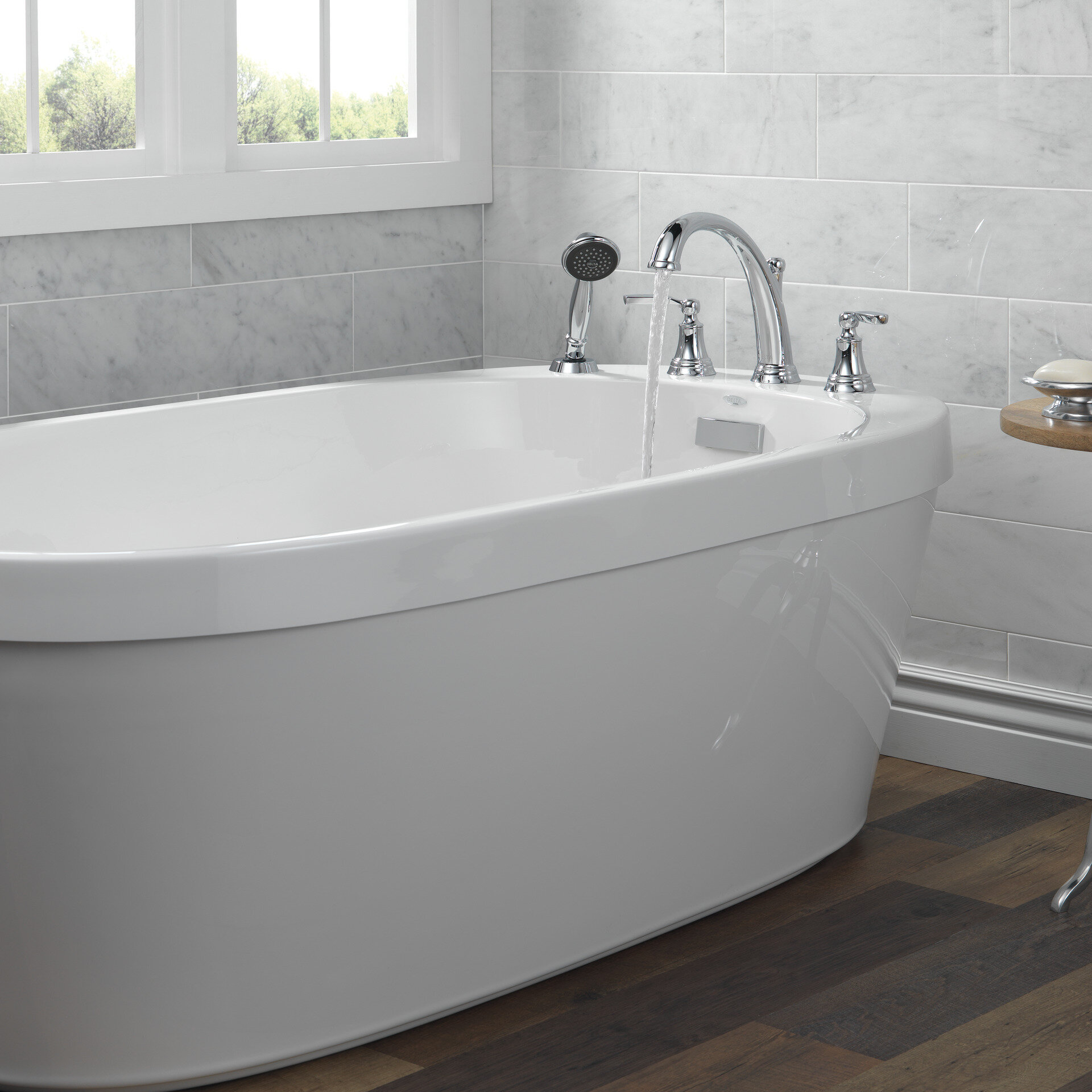 Delta Double Handle Deck Mounted Roman Tub Faucet Trim With Handshower Wayfair