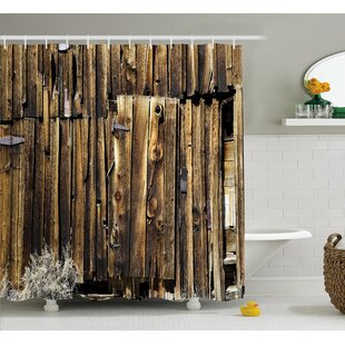 Rustic Oak Barn Timber Door Single Shower Curtain