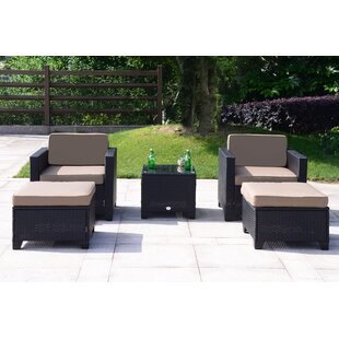 Ivy 5 Piece Rattan Sofa Seating Group with Cushions