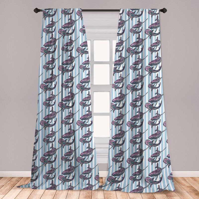 East Urban Home Ambesonne Whale Window Curtains Vertical Stripes Background With Hand Drawn Abstract Giant Marine Mammals Lightweight Decorative Panels Set Of 2 With Rod Pocket 56 X 63 Lilac Baby Blue White Wayfair