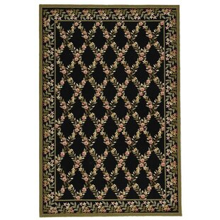 Affordable Pipers Hand-Hooked Wool Black/Green Area Rug ByAugust Grove