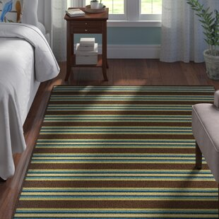Brendel Brown Striped Indoor/Outdoor Area Rug