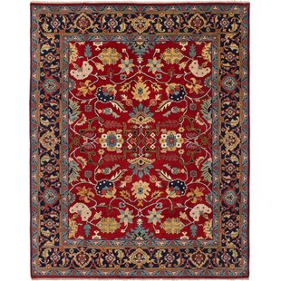 Best Choices One-of-a-Kind Evonne Hand-Knotted Wool Red/Black Area Rug By Isabelline