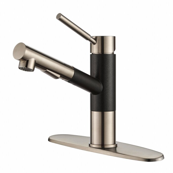 out kitchen faucet single pull front brushed nickel lever garen hole