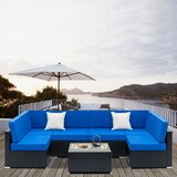 Wiconsico 7 Piece Rattan Sectional Seating Group with Cushions by Ebern Designs