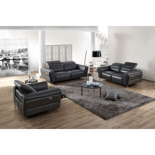 Orren Ellis Paille Reclining 3 Piece Leather Living Room Set