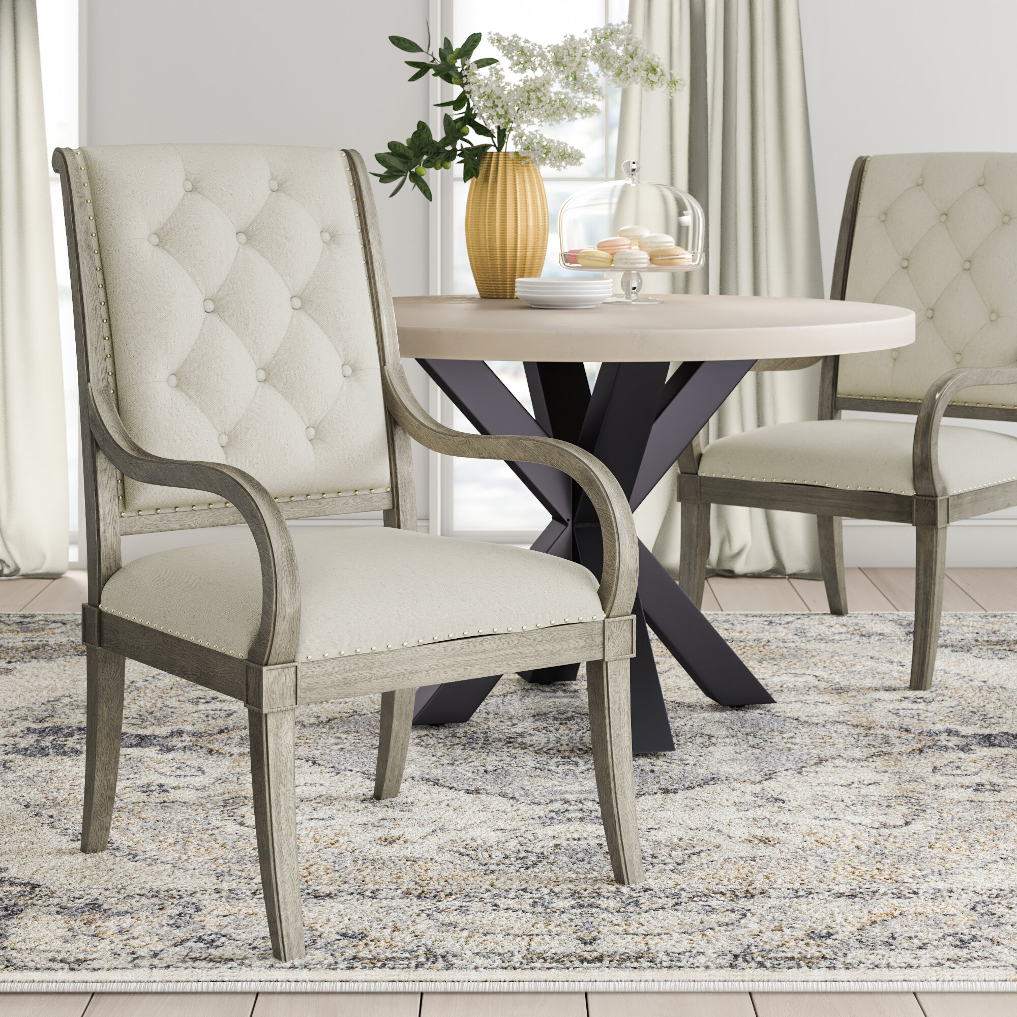 Marquesa Tufted Upholstered Arm Chair in Gray Cashmere